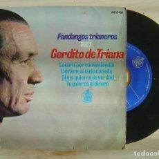Discos de vinilo: GORDITO DE TRIANA - FANDANGOS TRIANEROS VOL. 1 - EP 1965 - HISPAVOX. Lote 143733062