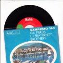 Discos de vinilo: 45 GIRI SANREMO 64 GIL FIRLDS & FRATHERNITY BROTHERS SABATO SERA /LA PRIMA CHE INCNTRO GERMANY. Lote 143740854