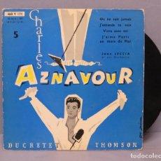Discos de vinilo: EP. CHARLES AZNAVOUR. ON NE SAIT JAMAIS. 5. DUCRETET THOMSON. Lote 143777194