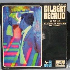 Discos de vinilo: EP. GILBERT BECAUD. LA RIVIERE. Lote 143777286