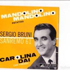 Discos de vinilo: EP SERGIO BRUNI CAROLINA DAI /PATATINA /MANDOLINO MANDOLINO /CHE FREDDO SANREMO 61 ITALY. Lote 143809338