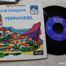 Discos de vinilo: LE CURE DE CUCUGNAN FERNANDEL A. DAUDET CUENTO INFANTIL EN FRANCES SINGLE. Lote 143880146
