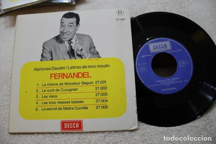 Discos de vinilo: LA CHEVRE DE MONSIEUR SEGUIN FERNANDEL A. DAUDET CUENTO INFANTIL EN FRANCES SINGLE - Foto 2 - 143880422