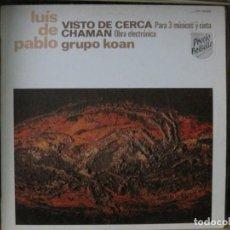 Discos de vinilo: LUÍS DE PABLO - VISTO DE CERCA/CHAMAN-GRUPO KOAN-SELLO HISPAVOX 1985.CARPETA BIEN.VINILO COMO NUEVO.. Lote 144014070