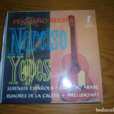 Discos de vinilo: NARCISO YEPES. PEQUEÑO RECITAL : CAPRICHO ARABE + 3. EP. ZAFIRO, 1961. IMPECABLE (#). Lote 144084178