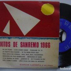 Discos de vinilo: CARLOS LAPORTA Y SU RITMO - EXITOS DE SAN REMO - SINGLE 1966 - BELTER. Lote 144147038