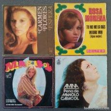 Discos de vinilo: LOTE SINGLES MARISOL ROSA MORENO CARMEN FLORES AMINA. Lote 144193174