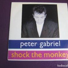 Disques de vinyle: PETER GABRIEL SG VIRGIN 1991 PROMO - SHOCK THE MONKEY - GENESIS - PHIL COLLINS - POP ROCK 80'S. Lote 144210370