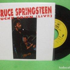 Discos de vinilo: BRUCE SPRINGSTEEN LUCKY TOWN (LIVE) SINGLE SPAIN 1993 PEPETO TOP . Lote 144395586
