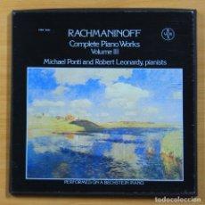 Discos de vinilo: RACHMANINOFF - COMPLETE PIANO WORKS VOLUME III - BOX 3 LP. Lote 144395620