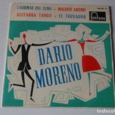 Discos de vinilo: DARIO MORENO / LAGRIMAS DEL ALMA / GUITARRA TANGO + 2 (EP 1962) 460 828 TE FONTANA ESPAÑA. Lote 144396218