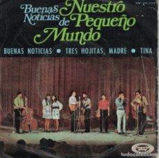 Disques de vinyle: NUESTRO PEQUEÑO MUNDO - BUENAS NOTICIAS / TRES HOJITAS, MADRE / TINA (SINGLE ESPAÑOL, MOVIEPLAY 1969. Lote 144425934
