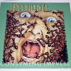 Discos de vinilo: LP PESTILENCE - CONSUMING IMPULSE ROADRACER 1989. Lote 144502462