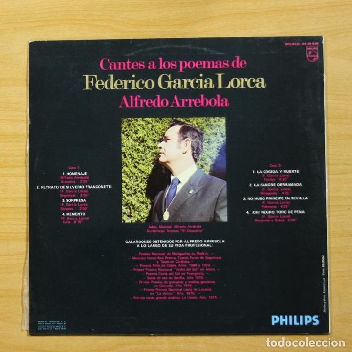 Discos de vinilo: ALFREDO ARREBOLA - CANTES A LOS POEMAS DE FEDERICO GARCIA LORCA - LP - Foto 2 - 144534714