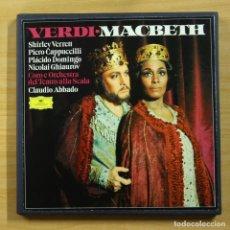Discos de vinilo: VERDI / ABBADO - MACBETH - CONTIENE LIBRETO - BOX 3 LP. Lote 144559420