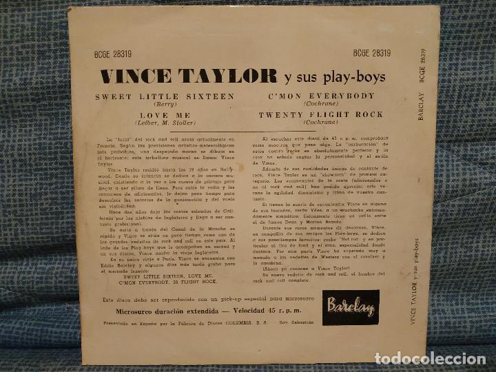 Discos de vinilo: VINCE TAYLOR Y SUS PLAY-BOYS - SWEET LITTLE SIXTEEN + 3 - MUY RARO EDICION SPAIN AÑO 1961 COMO NUEVO - Foto 2 - 144584030