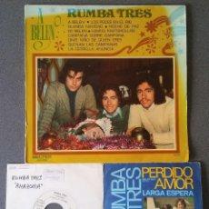 Discos de vinilo: LOTE SINGLES LP RUMBA TRES CON AUTÓGRAFO. Lote 144639646