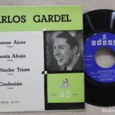 Discos de vinilo: CARLOS GARDEL BUENOS AIRES TANGO SINGLE VINYL MADE IN SPAIN 1955. Lote 144642370