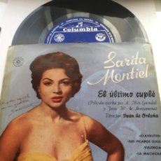 Discos de vinilo: SARITA MONTIEL-EL ULTIMO CUPLE-MUY RARA VERSION APERTURA SUPERIOR Y SELLO DURACION EXTENDIDA. Lote 144770286