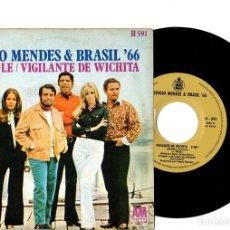 Discos de vinilo: SINGLE SERGIO MENDES & BRASIL 66. YE-ME-LE. VIGILANTE DE WICHITA. HISPAVOX, 1970. Lote 144826592