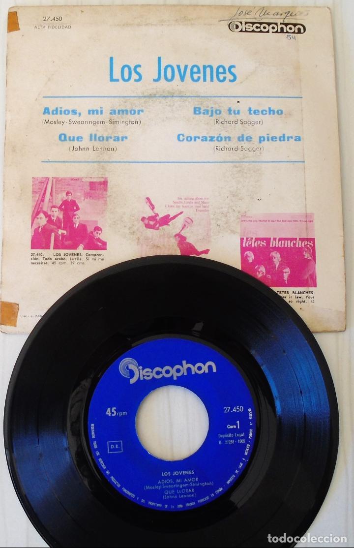 Discos de vinilo: LOS JOVENES - ADIOS, MI AMOR + 3 TEMAS DISCOPHON - 1965 - Foto 2 - 144877094