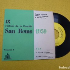 Discos de vinilo: SINGLE IX FESTIVAL SAN REMO 1959 VOLUMEN 4 TONINA TORRIELLI (EX/EX) Ç. Lote 144986326