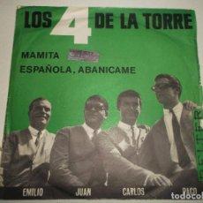 Discos de vinilo: LOS 4 DE LA TORRE, MAMITA, ESPAÑOLA ABANICAME BELTER 1965. Lote 145016158