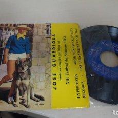 Discos de vinilo: JOSE GUARDIOLA -CANTA EN CATALAN LOS EXITOS DEL XIII FESTIVAL DE SANREMO 1963-LA VOZ DE SU AMO BCN. Lote 145078482