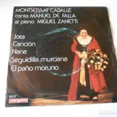 Discos de vinilo: MONTSERRAT CABALLÉ, EP, JOTA + 4, AÑO 1.975. Lote 145084766