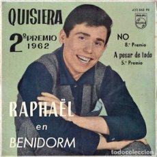 Discos de vinilo: RAPHAËL - RAPHAËL EN BENIDORM - EP PHILIPS SPAIN 1962. Lote 145249621