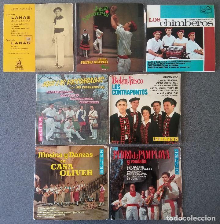 LOTE SINGLES JOTAS NAVARRAS MÚSICA VASCA RAIMUNDO LANAS PEDRO MATEO LOS CONTRAPUNTOS (Música - Discos de Vinilo - EPs - Étnicas y Músicas del Mundo)