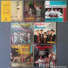 Discos de vinilo: LOTE SINGLES JOTAS NAVARRAS MÚSICA VASCA RAIMUNDO LANAS PEDRO MATEO LOS CONTRAPUNTOS. Lote 145266950