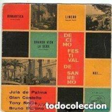 Discos de vinilo: JULA DE PALMA / GIAN COSTELLO / TONY RENIS / BRUNO MARTINO –EP, X FESTIVAL DE SAN REMO 1960. Lote 145419634