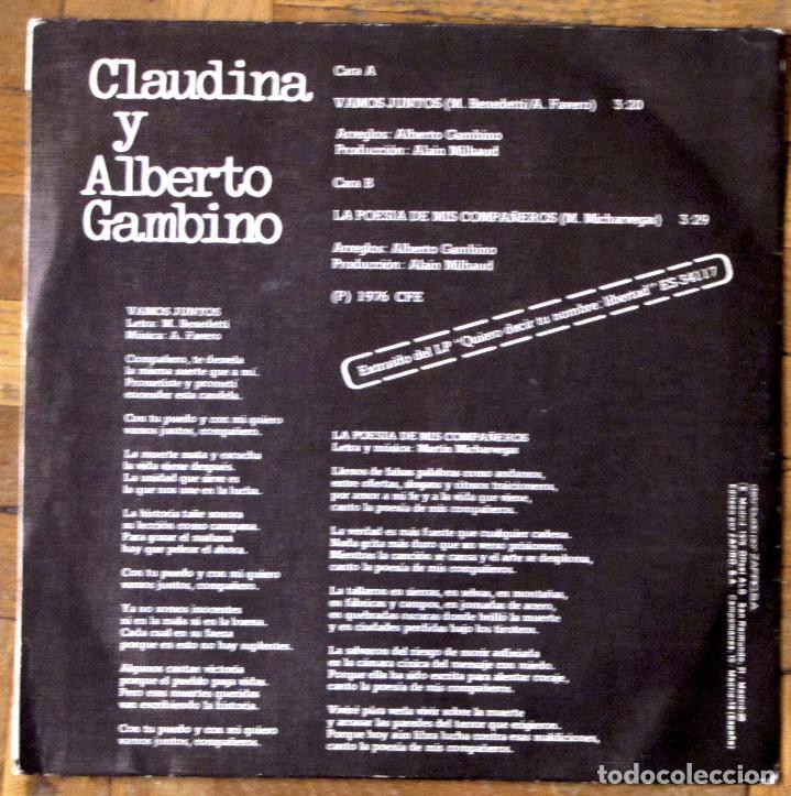 Discos de vinilo: Claudina y Alberto Gambino. Vamos juntos. Explosion, E-34542. España, 1976. Funda Ex. Disco EX. - Foto 2 - 145477198