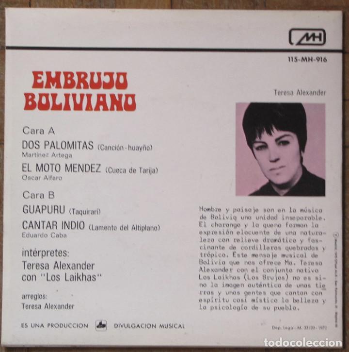 Discos de vinilo: Teresa Alexander con Los Laikhas. Embrujo Boliviano. MH, 115-MH-916. España, 1972. EX. EX. - Foto 2 - 145480238