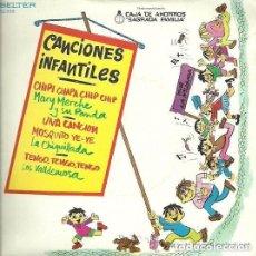 Discos de vinilo: MARY MERCHE, LA CHIQUILLADA, LOS VALLDEMOSA - CANCIONES INFANTILES - EP CAJA PENEDES. Lote 145486482