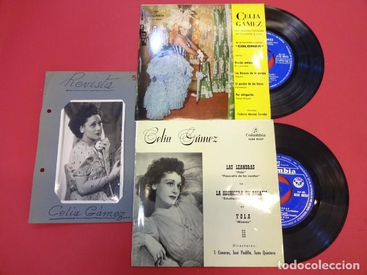 CELIA GAMEZ. LOTE DOS EP 45 R.P.M. + FOTO ORIGINAL CON DEDICATORIA AÑOS 1940S (Música - Discos de Vinilo - EPs - Flamenco, Canción española y Cuplé)