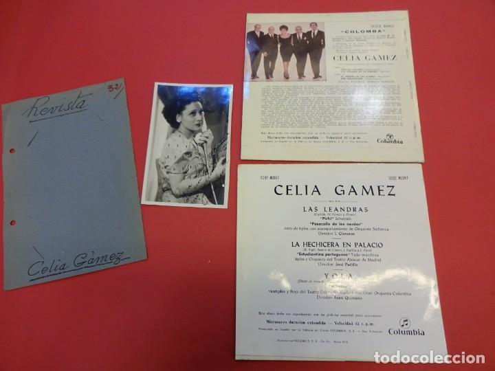 Discos de vinilo: CELIA GAMEZ. Lote dos EP 45 r.p.m. + foto original con dedicatoria años 1940s - Foto 3 - 145611370