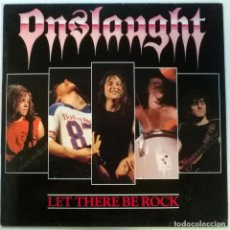 Discos de vinilo: ONSLAUGHT. LET THERE BE ROCK. UNDER ONE FLAG, UK 1987 MAXI-LP. Lote 145652926