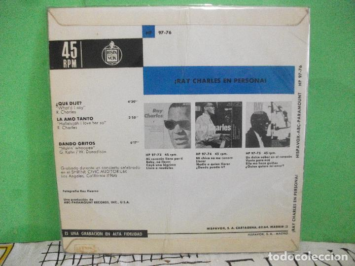 Discos de vinilo: RAY CHARLES WHATD I SAY + 2 EP SPAIN 1965 PDELUXE - Foto 2 - 145689502