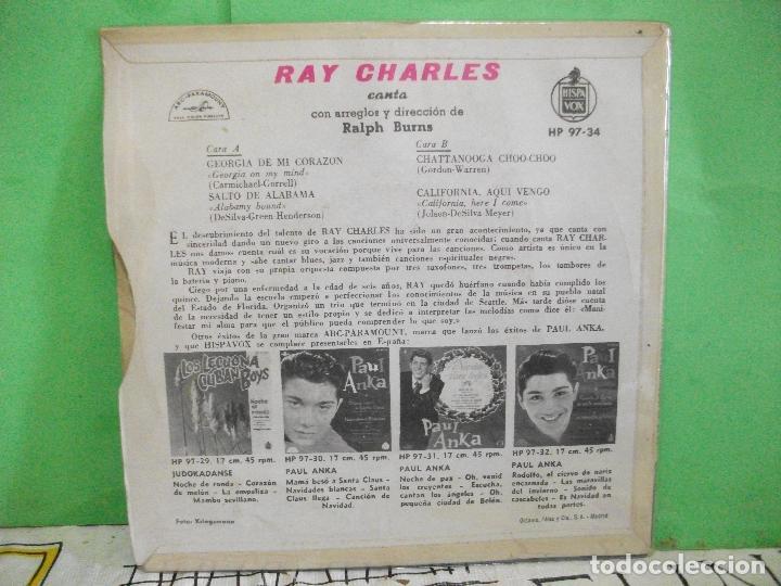 Discos de vinilo: RAY CHARLES GEORGIA DE MI CORAZON + 3 EP SPAIN 1960 PDELUXE - Foto 2 - 145689894