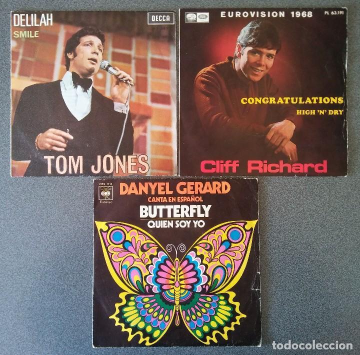 LOTE SINGLES TOM JONES CLIFF RICHARDS DANYEL GERARD (Música - Discos de Vinilo - EPs - Cantautores Internacionales)