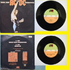 Discos de vinilo: AC DC - SHAKE YOUR FOUNDATIONS / STAND UP 1985, BRIAN JOHNSON, SINGLE ORG EDT UK, 1º PRESS - EXC. Lote 145730986