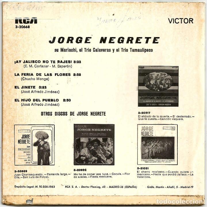 Discos de vinilo: JORGE NEGRETE, SU MARIACHI, EL TRIO CALAVERAS Y EL TRIO TAMAULIPECO (EP) 1963 - Foto 2 - 145820702