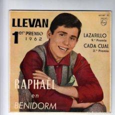 Discos de vinilo: RAPHAEL:1962 BENIDORM-LAZARILLO-EXCELENTE COMO NUEVO-SELLO FIRMA¡ F.BERMUDEZ X DETRAS-COLECCIONISTAS. Lote 145907266
