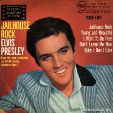 Discos de vinilo: ELVIS PRESLEY JAILHOUSE ROCK EP BSO + 3 TEMAS 1958. Lote 146035198