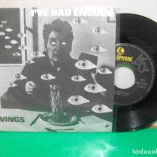 Discos de vinilo: WINGS - PAUL MCCARTNEY I'VE HAD ENOUGH + 1 SINGLE PORTUGAL 1978 PEPETO TOP . Lote 146176630