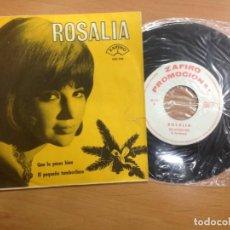 Discos de vinilo: SINGLE PROMOCIONAL ROSALIA ZAFIRO/ QUE LO PASES BIEN/ EL PEQUEÑO TAMBORILERO. Lote 146217254