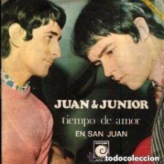 Discos de vinilo: JUAN & JUNIOR TIEMPO DE AMOR/ EN SAN JUAN, SINGLE NOVOLA 1968. Lote 146223670