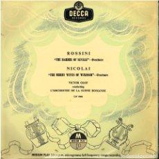 Discos de vinilo: ROSSINI. THE BARBIER OF SEVILLE / NICOLAI. THE MERRY WIVES OF WINDSOR- VICTOR OLOF - LP 10' - ED. GB. Lote 146382222